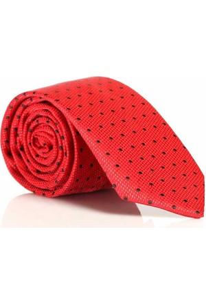 Gaffy Kırmızı Siyah Renk Dokuma Desenli Slim Fit Kravat -Sdk-708