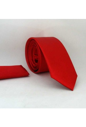 Gaffy Kırmızı Slim Fit Düz Renk Mendilli Saten Kravat - Ss-02