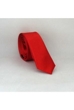 Gaffy Kırmızı Ultra Slim Fit Düz Renk Saten Kravat - Uss-02