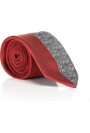 Gaffy Kırmızı-Gri Dokuma Desenli Slim Fit Kravat -Sdk-614