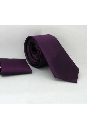 Gaffy Koyu Mor Slim Fit Düz Renk Mendilli Saten Kravat - Ss-21