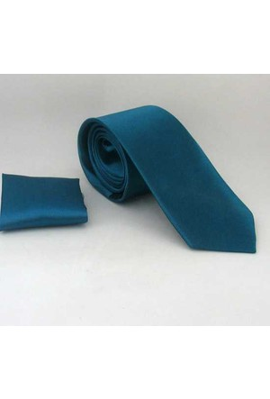 Gaffy Petrol Mavi Slim Fit Düz Renk Mendilli Saten Kravat - Ss-14