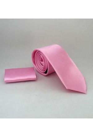 Gaffy Şeker Pembe Slim Fit Düz Renk Mendilli Saten Kravat - Ss-34