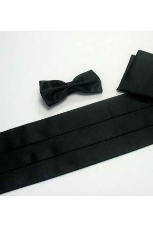 Gaffy Siyah Damatlik Düz Renk Saten Kuşak+Papyon+Mendil Takim - Kp-08