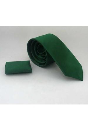 Gaffy Zümrüt Yeşili Slim Fit Düz Renk Mendilli Saten Kravat - Ss-28
