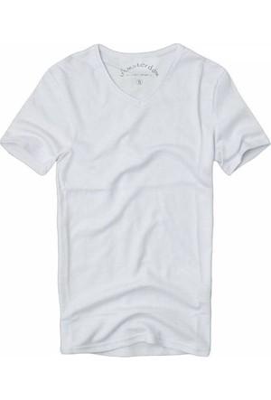Slim Fit Likralı V Yaka Basic Tişört