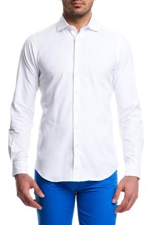 Cacharel Yaka Düğmeli Tek Manşet Cepsiz Gömlek Beyaz