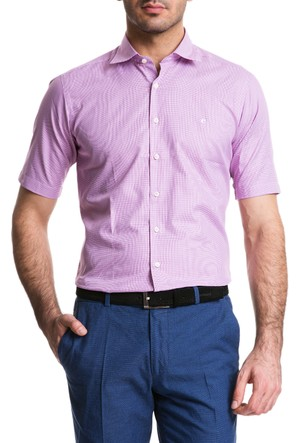 Cacharel Klasik Yaka Kısa Kol Cepsiz Gömlek Pembe