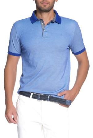 Cacharel Barre Polo Yaka T-Shirt Mavi
