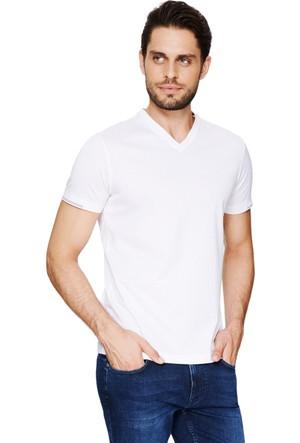 Cacharel Benifo V Yaka T-Shirt Beyaz