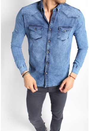 Oksit 2666 Randum Slim Fit Likralı Kot Gömlek-Buz Mavi