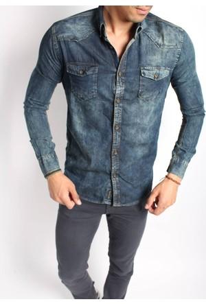 Oksit 3066 Armüllü Slim Fit Likralı Kot Gömlek-Kot Mavi