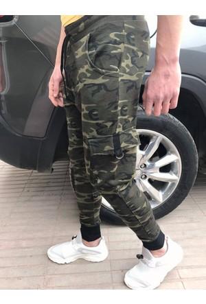 Oksit Milano Kargo Cep Slim Fit Eşofman Alt - Askeri Yeşil