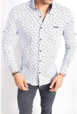 Oksit O. 3091 Slim Fit Likralı Gömlek - Beyaz