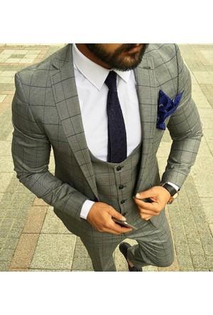 Oksit Ekoseli Kombin Takım Elbise-Açık Gri