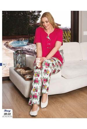 Dowry Bayan Büyük Beden Çiçek Desenli Pijama Takımı 08-511 5Xl - Sarı