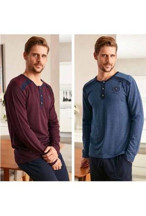 Feyza Erkek Uzun Kol Pijama Takımı 2201 S - Mavi