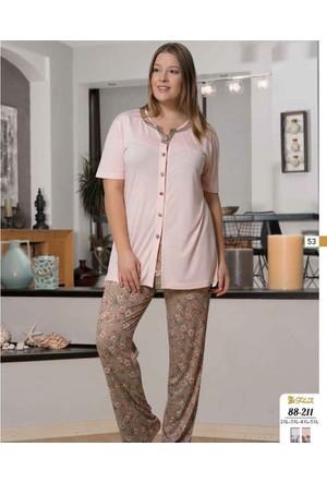 Dowry Bayan Büyük Beden Pijama Takımı 88-211 5Xl - Pembe