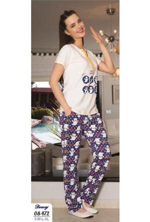 Dowry Bayan Hayalet Baskılı Pijama Takımı 08-472 Xl