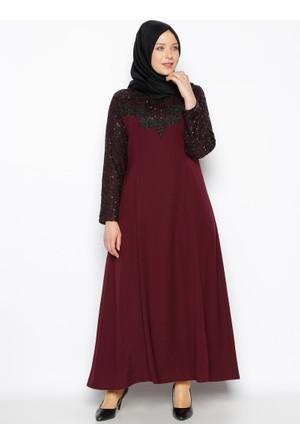 Güpür Detaylı Abiye Elbise - Mürdüm - Sevilay Giyim