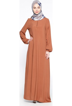 Birit Detaylı Elbise - Taba - Ginezza