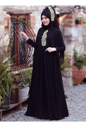 Nur Abiye Elbise - Siyah - SomFashion