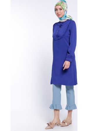Fırfır Detaylı Pantolon - Mavi - Modesty