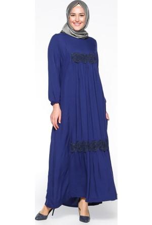 Güpür Detaylı Elbise - Açık Lacivert - Ginezza