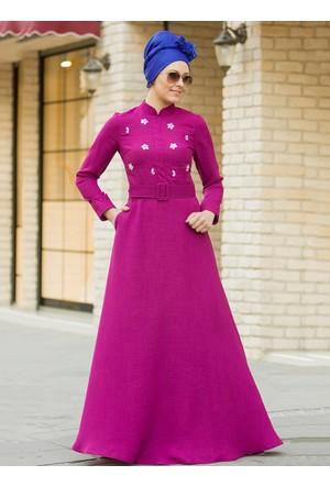 Önü Taş Detaylı Elbise - Fuşya - Gizem Kış