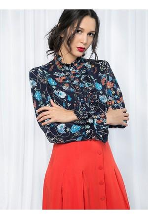 Çiçek Desenli Bluz - Lacivert - Store Wf