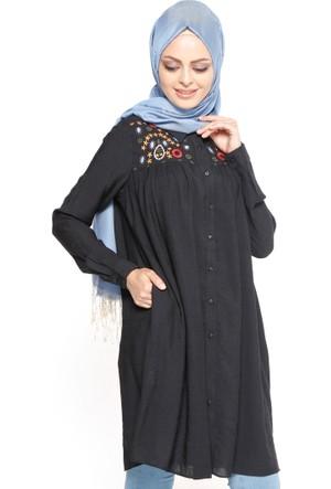 Nakış Detaylı Tunik - Siyah - Belle Belemir