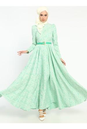 Gül Desenli Jakarlı Abiye Elbise - Yeşil - Mustafa Dikmen