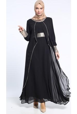 Payetli Abiye Elbise - Siyah - BÜRÜN