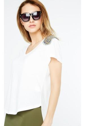 FullaModa Apoletli T-Shirt 17YAKYÜZ0009