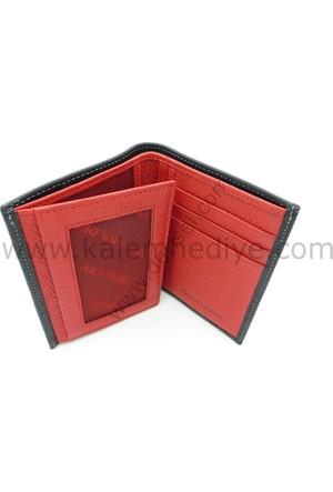 Erkek Deri Cüzdan Kırmızı - Siyah Cüzdan/Hediye Cüzdan Derisel TM 1018-3
