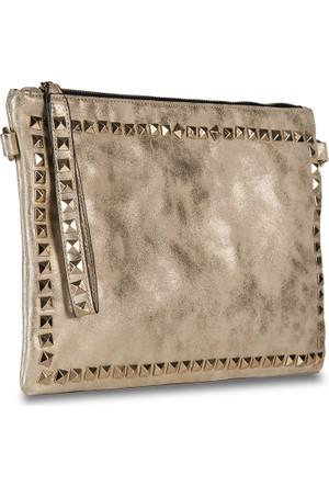 Ççs Altın Metal Aksesuarlı Clutch Çanta