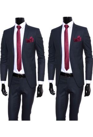 GiyimGiyim Lacivert Piti Kareli Dar Kesim Takım Elbise