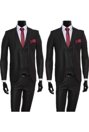 GiyimGiyim Siyah Yelekli Dar Kesim Erkek Takım Elbise