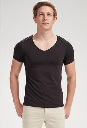 Vena Elvis Derin V Yaka T-Shirt Siyah 1402707