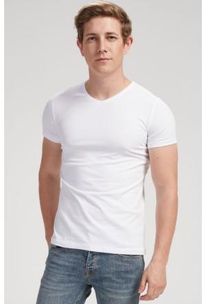 Vena Nick V Yaka Kısa Kol T-Shirt Beyaz 1402713