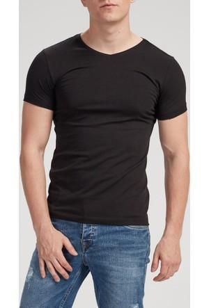 Vena Nick V Yaka Kısa Kol T-Shirt Siyah 1402712