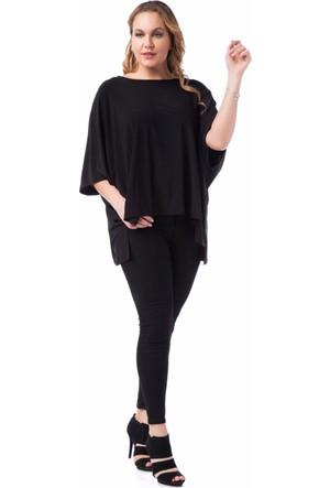 Francesca Ettore SF-1207 Siyah Büyük Beden Bayan Bluz