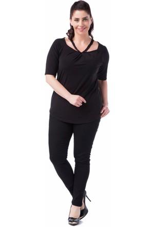 Francesca Ettore SF-1214 Siyah Büyük Beden Bayan Bluz