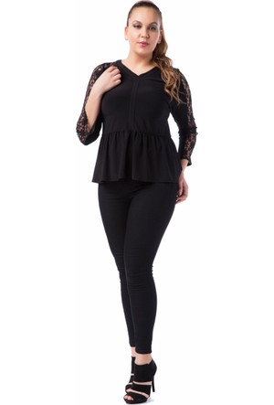 Francesca Ettore SF-1219 Siyah Büyük Beden Bayan Bluz