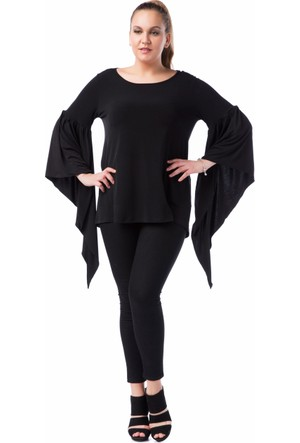 Francesca Ettore SF-1229 Siyah Büyük Beden Bayan Bluz