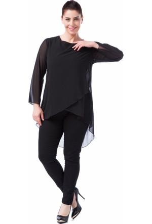 Francesca Ettore SF-1230 Siyah Büyük Beden Bayan Bluz