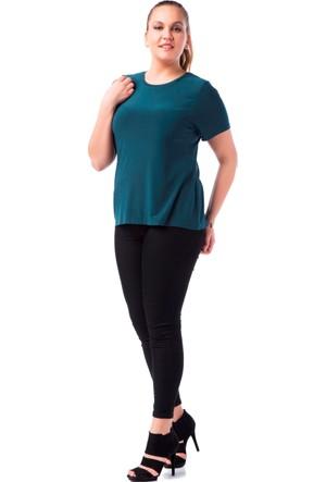 Francesca Ettore SF-1236 Yeşil Büyük Beden Bayan Tshirt