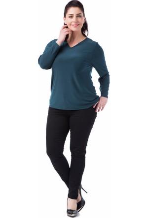 Francesca Ettore SF-1237 Yeşil Büyük Beden Bayan Bluz