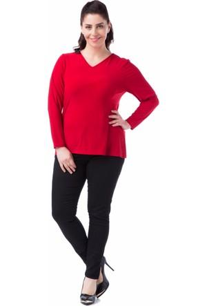 Francesca Ettore SF-1237 Kırmızı Büyük Beden Bayan Bluz