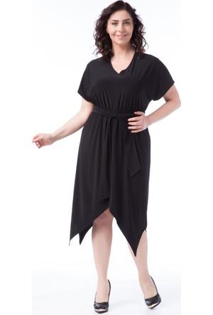 Francesca Ettore SF-1603 Siyah Büyük Beden Bayan Elbise